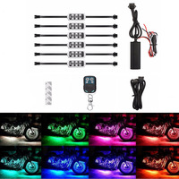 RGB Music Control Wireless Remote LED Car Motorcycle Light Atmosphere Lamp With Smart Brake Light Accent Neon Style Light Kit