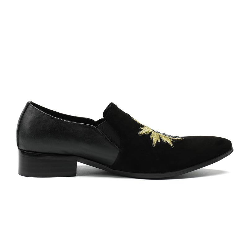 Printemps Fête Chaussures Été En Mocassins Pointu Casual Patchwork Mode Glissement Black Sur Bout Hommes Des Véritable Conception Nouveaux black Cuir De Sequin HHdxrBw7q