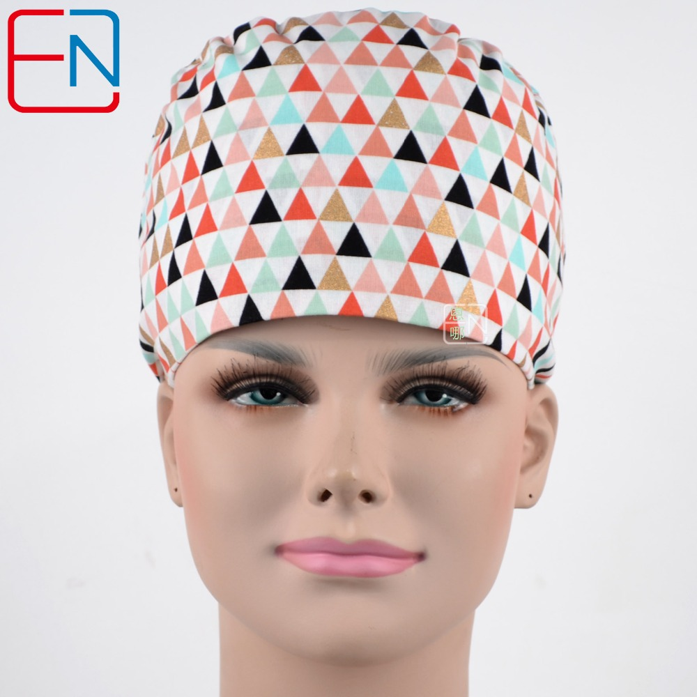 Hennar Women Medical Scrub Caps With Colorful Triangle Patterns In 100% Cotton