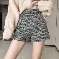 Autumn Winter Formal Shorts Women Korean High Waisted Zipper Fly Shorts Female Gray Loose Casual Bottom Short Pants Women