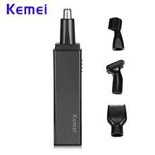 Kemei 4 в 1 USB Аккумуляторная триммер для носа, ушей Для Мужчин's Портативный электробритва бритва борода бакенбарды Выщипывание Бровей безопасности