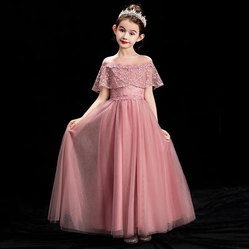 2019Spring Summer New Children Girls Elegant Birthday Wedding Party Princess Dress Baby Kids Evening Party Model Catwalk Dress