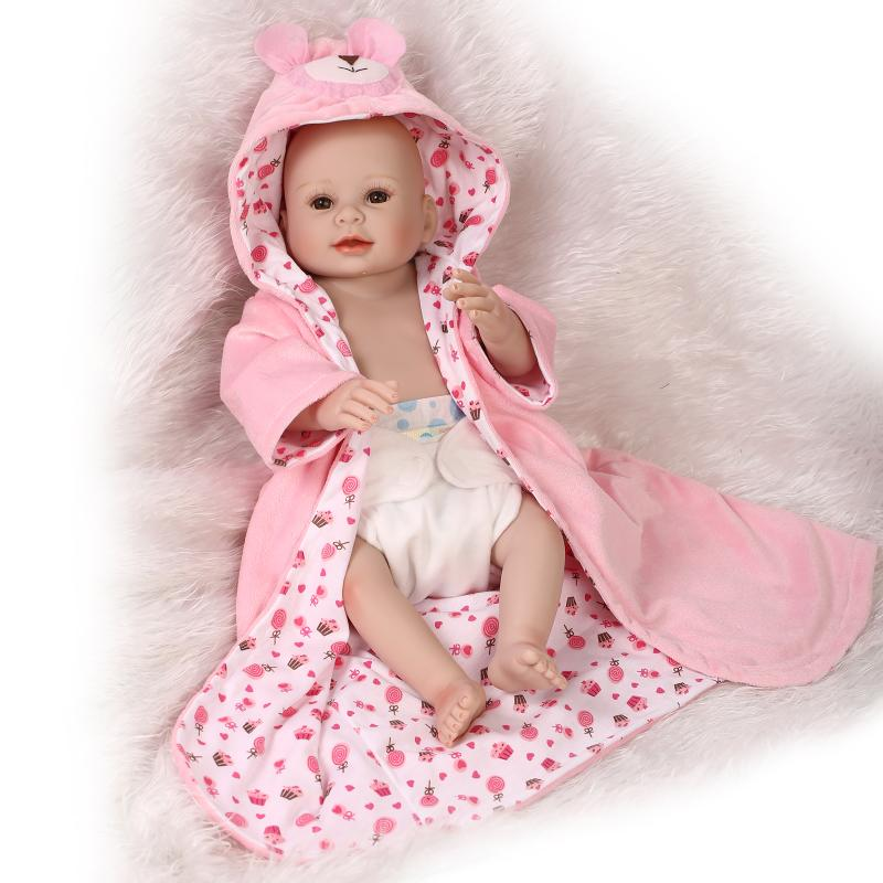 NPK Bebe Full Silicone Body Reborn Babies Girl Dolls 20 Inch/50cm lifelike Reborn doll Children New Year Gift Bath Toys Boneca 2017 new arrival bebe reborn silicone doll reborn babies lifelike baby dolls gift for children smiling girl brinquedos juguetes