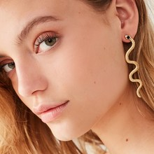 Fashion Exaggerated Long Serpentine Snake Tassel Stud Earrin