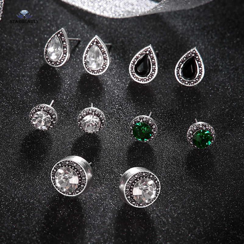 בוהמיה 5 זוגות\חבילה חם שחור מים זרוק אוזן מזויף פירסינג Helix פירסינג Tragus עגול קריסטל האף טבעת עגילי Pircing תכשיטים