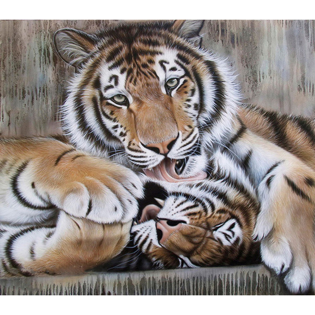 MOYI Sin Marco Pintura Por Número Tigre Pintura de DIY Pintura Al ...
