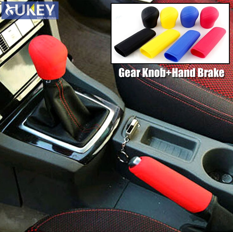 2Pcs Car Silicone Gel Gear Knob Cover Head Shift Glove Gear Shift Collars Handbrake Sleeve Car Hand Brake Covers Skin Universal(China)
