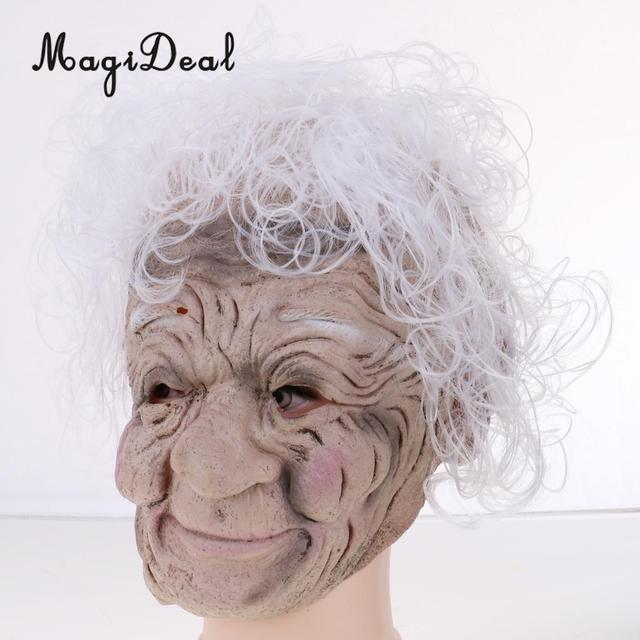 Magideal Ugly Halloween Latex Full Front Face Mask Wrinkled Old