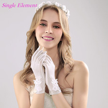 Top Bridal Gloves with Fingers Lace Appliques Wedding Wrist Length Ivory Accessory In Stock