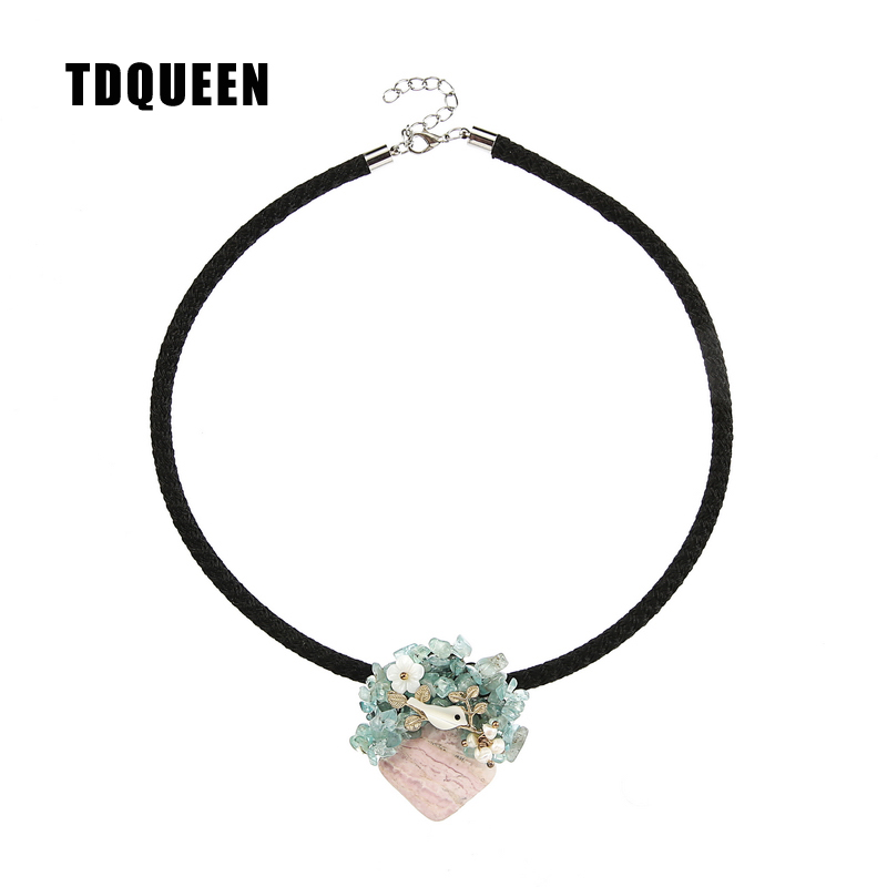 TDQUEEN Natural Stone Pendant Necklaces Freshwater Pearls Shell Flower Anime Bird Collier Jewelry Necklaces Pendants for Women