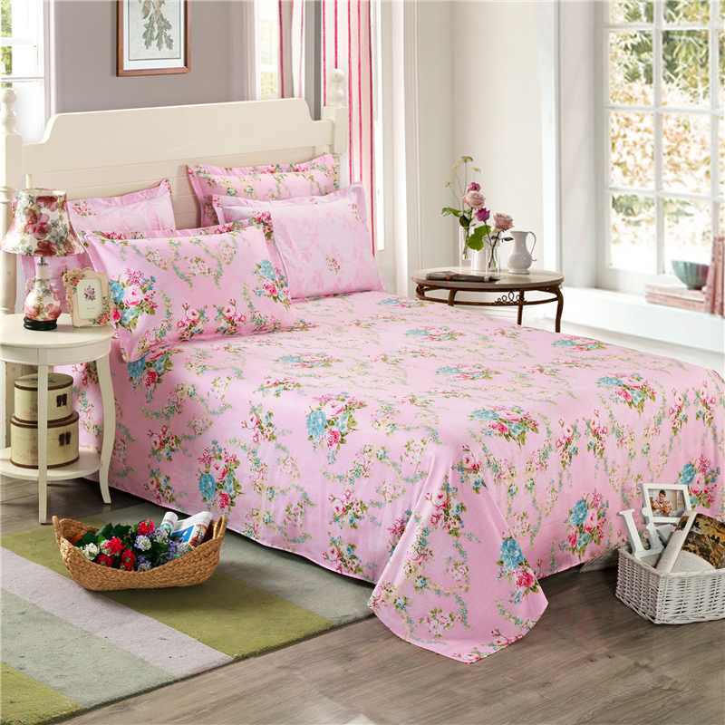 Korean Style Floral Girl Bed Sheets Peony Print Flowers Bedding Sets Pink  Twin Full Queen King Size Bedspread 100% Cotton