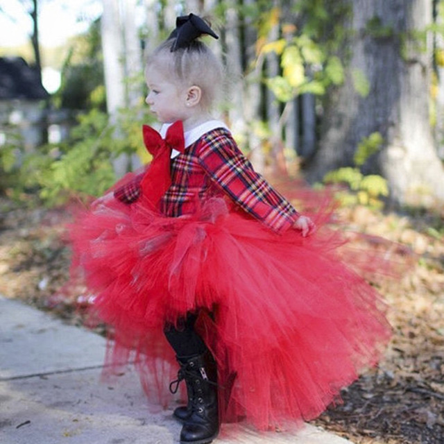 Red Fluffy Cute Princess Girl Tutu Skirt Ankle Length Toddler Girls Birthday Party Tulle Skirts