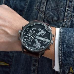 Image 3 - OULM relojes de cuarzo con pantalla dos zonas horarias para hombre, reloj de pulsera militar de cuero PU