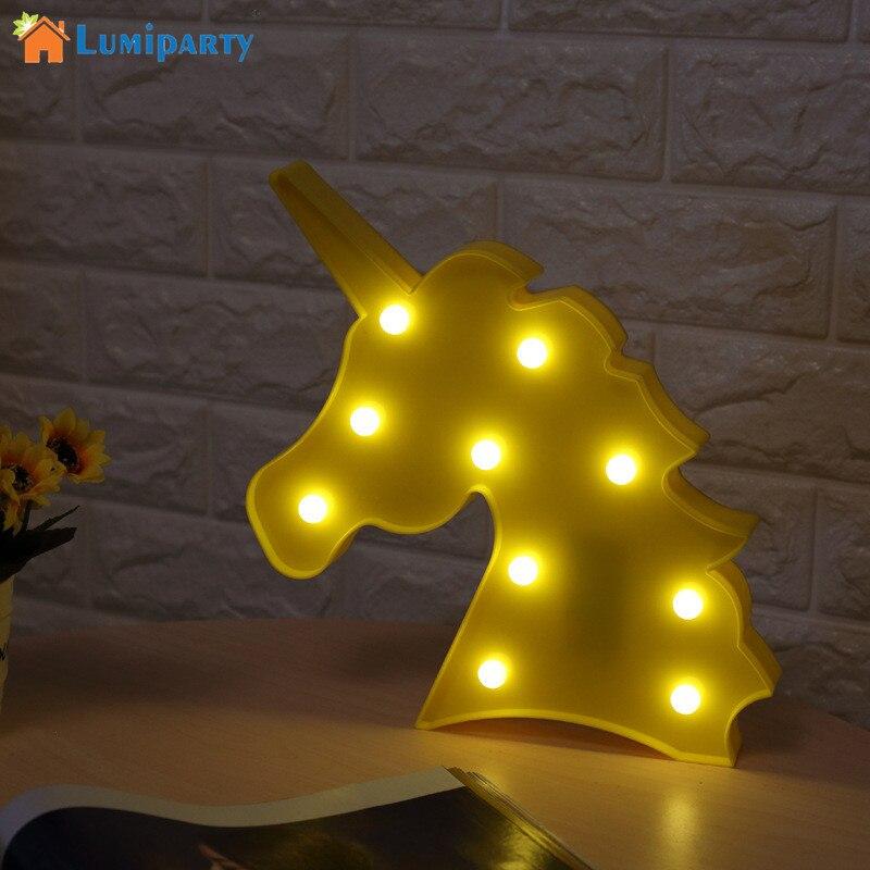 4 Farben LumiParty Einhorn lampe LED Nachtlicht Dekorative 3D Festzelt Zeichen Lichter für Schlafzimmer Kinderzimmer Lampe Lampen Beleuchtung