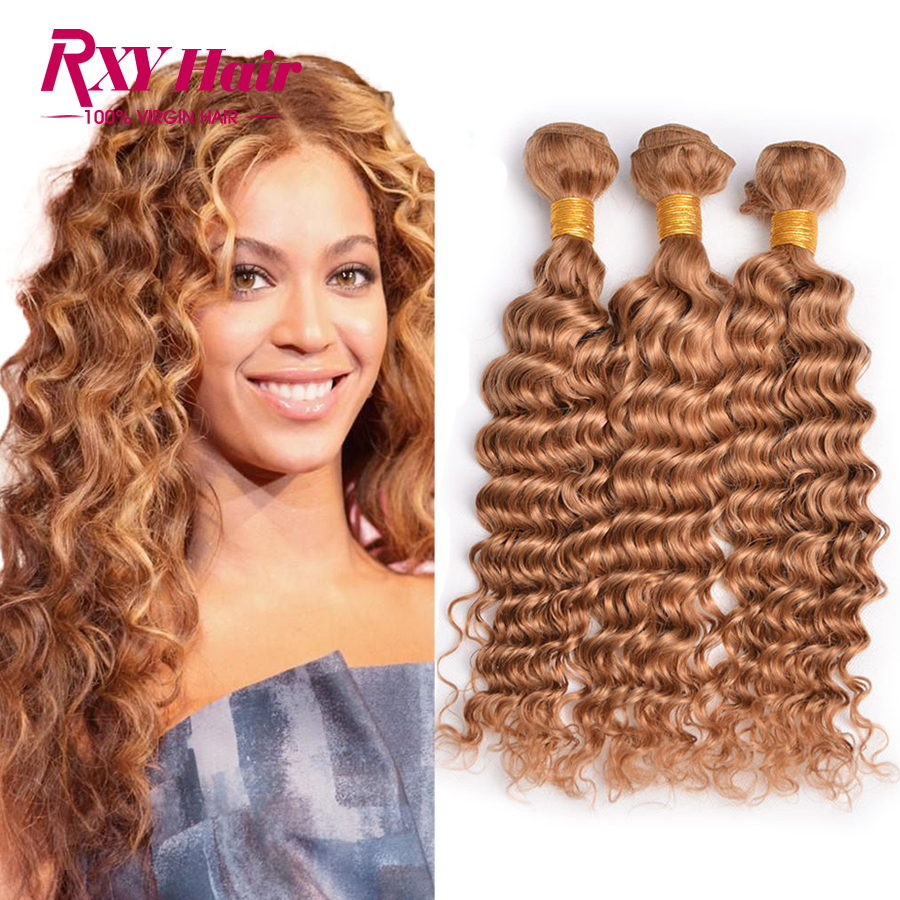 Rxy Hair 27 Blonde Deep Wave Brazilian Hair Weave