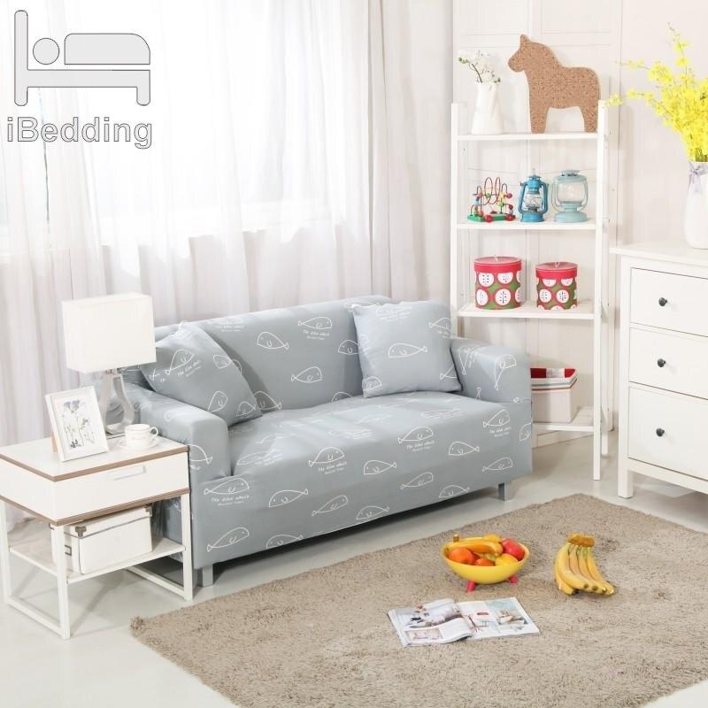 Light Grey Sofa Slipcover: Light Gray Fish Simple Stretch Sofa Protector Cover For