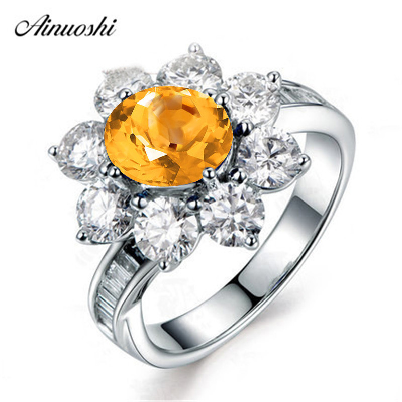 AINUOSHI Natural Citrine Sunflower Ring 2 Carat Oval Cut Gems 925 Sterling Silver Ring Engagement Party Fine Jewelry Women Ring
