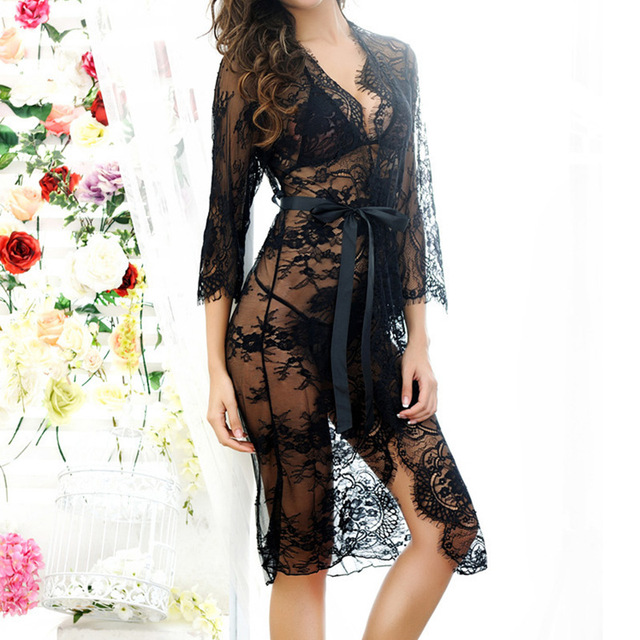 2018 Sexy Women Nightgowns & Sleepshirts Three Quarter O Neck Nightgowns Solid Full Lace Transparnet Hollow Out Dress 3