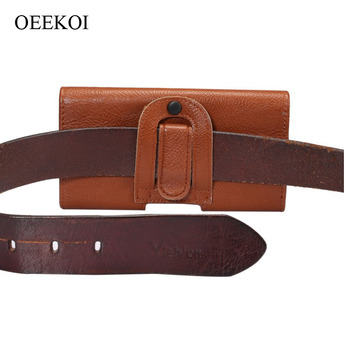 OEEKOI Belt Clip PU Leather Waist Holder Flip Cover Pouch Case for Telme C155/E1200/E1000 Drop Shipping image