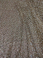 Gold glitter glued glitter mesh material with white beads glitter special flower French net lace fabric H 121511