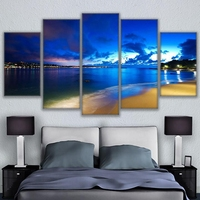 HD Printed Modular Painting Canvas Wall Art Frame Pictures 5 Pieces Beautiful Night View Sea Beach