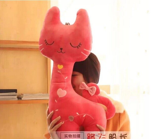 big stuffed lovely squinting cat toys creative cat doll boyfriend pillow birthday gift about 85cm pink