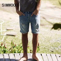 SIMWOOD 2018 Summer New Denim Shorts Men Casual Jeans Ripped Tears Hole Street Wear Cotton Slim