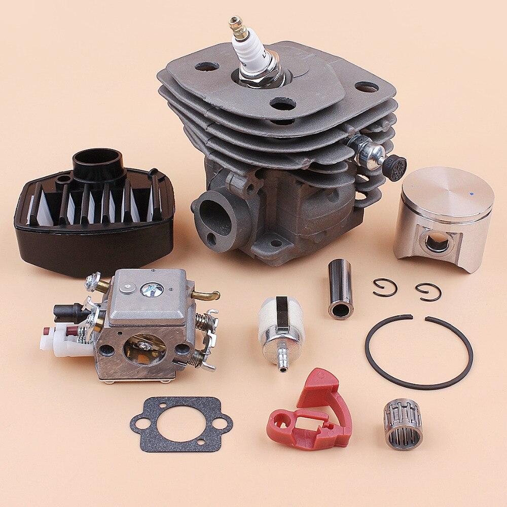 47MM Cylinder Piston Carburetor Air Filter Bearing Kit For HUSQVARNA 359 357 357XP Chainsaw Parts Zama C3 EL18B Carb 537157302