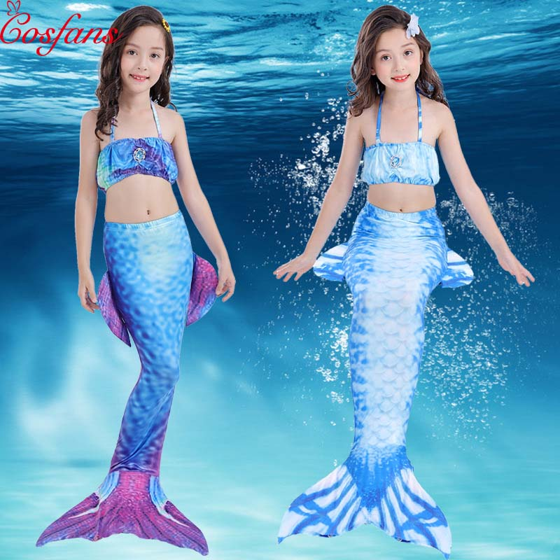 Children's Swimming Mermaid Tail No Monofin Swimsuit Costume Cosplay Costume Girl Child Swimming mermaid Tail Swimming child