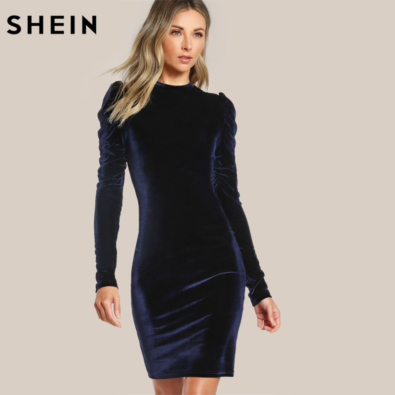 SHEIN Puff Sleeve Velvet Pencil Dress Womens Autumn Dresses Navy Long Sleeve Knee Length Elegant Party Dresses