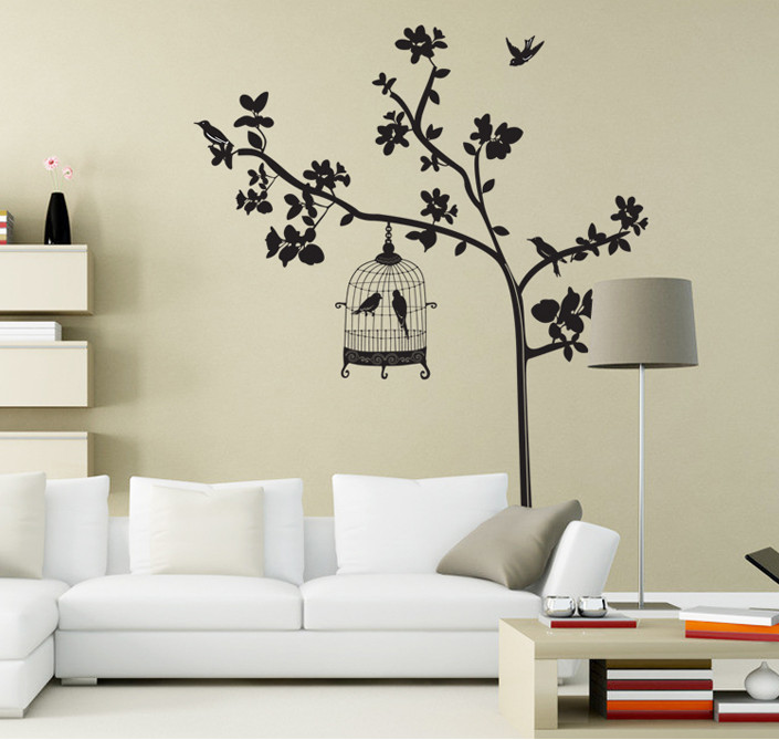Cartoon Birds Cage Flower B Tree Branch Wall Sticker For Kids Rooms Wall Decals Bedroom Home Decor Home Decoration Wallpaper