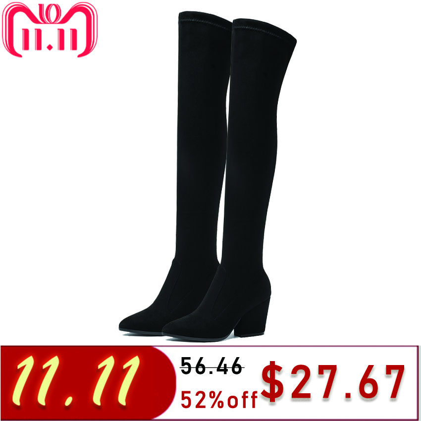 women winter boots stretch fabric fashion high heels women s boots elegant over the knee long boots winter boots TASSLYNN 2018 Women Boots Thick high Heels Long Winter Boots Women Shoes Over The Knee Boots Pointed Toe Stretch Fabric Boots