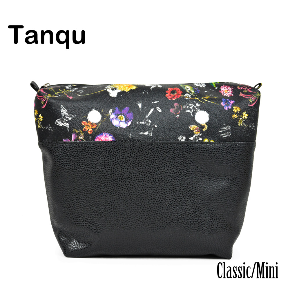 TANQU Classic Mini Flower Combined solid PU Leather Inner Pocket Lining Waterproof Insert for Obag EVA O BAG Women Handbag tanqu new mini floral print pu leather lining waterproof insert zipper inner pocket for mini obag eva o bag women handbag