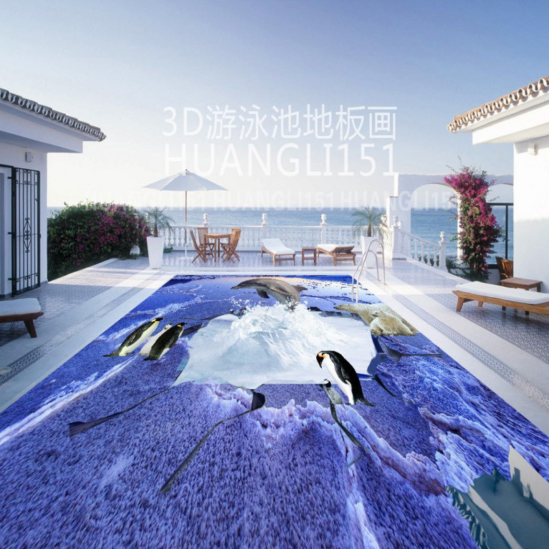 Free Shipping Polar Bear Ice Glacier Penguin Dolphin Bathroom 3D Floor wear non-slip bedroom lobby restaurant flooring mural penguin ice breaking save the penguin great family toys gifts desktop game fun game who make the penguin fall off lose this game