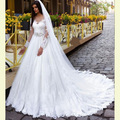 Vestidos De Novia Lace Long Sleeve Wedding Dress Ball Gown 2016 Vintage Wedding Bridal Gowns With Crystal Belt Casamento WD28