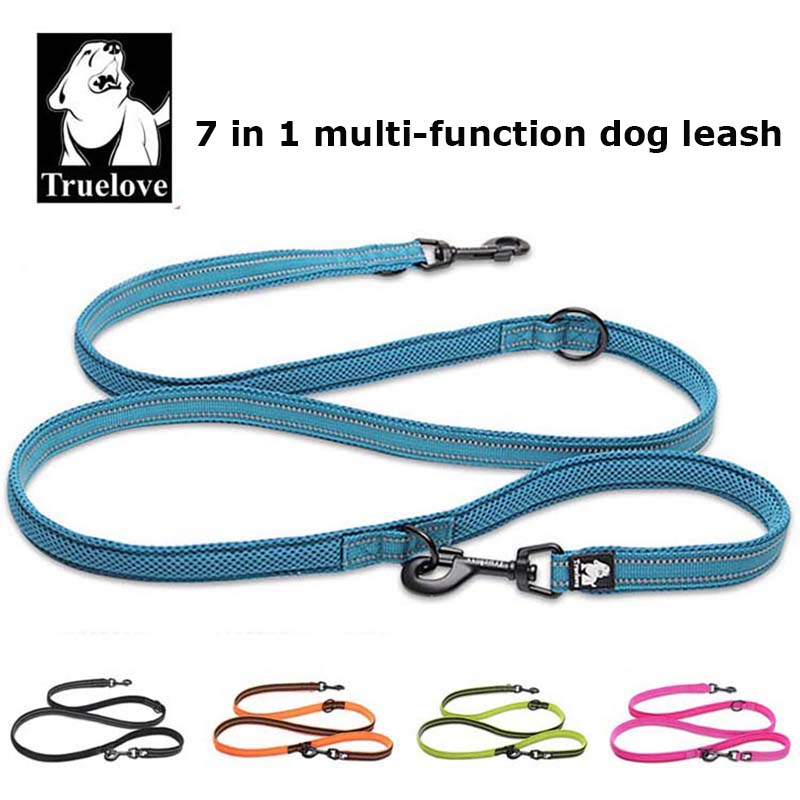 Truelove 7 In 1 Multi-Funksjon Adjustable Dog Lead Hand Gratis Pet Trening Leash Reflekterende Multi Purpose Dog Leash Walk 2 Dogs
