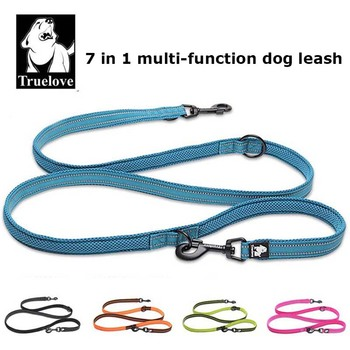 Truelove 7 In 1 Multi-Function Adjustable Dog Lead Hand Free Pet Training Leash Reflective Multi-Purpose Dog Leash Walk 2 Dogs hand free elastic dog leash adjustable padded waist reflective running jogging walking pet lead belt with pouch bags 4 colors