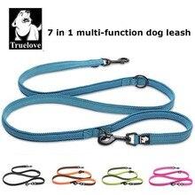 Truelove coleira de cachorro 7 em 1, multifuncional, ajustável, sem chumbo, para adestramento de animais, reflexiva, multiuso leash walk 2 cães