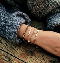 Minimalist Multi Layered Bracelet Set for Women Elegant Fashion Bracelet Simple Metal Multi-layer Geometric Bracelet цена 2017