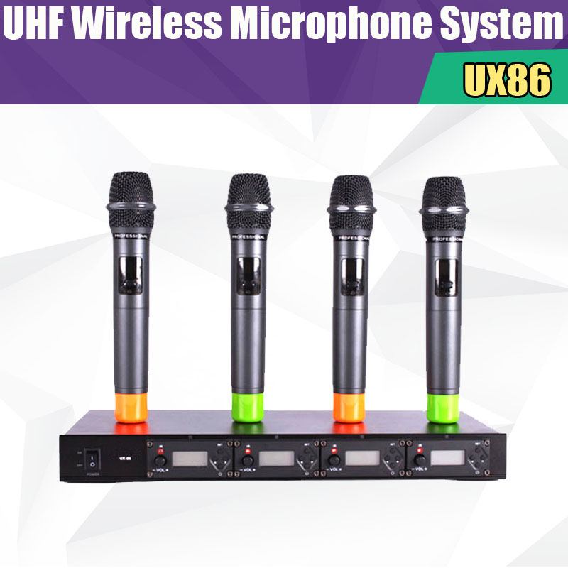 UX86  Professional 4x100 Channel UHF Wireless 4 Handheld Microphone System Conference Microphone System Gooseneck meeting Mic постельное белье амалия розовый бязь евро 1