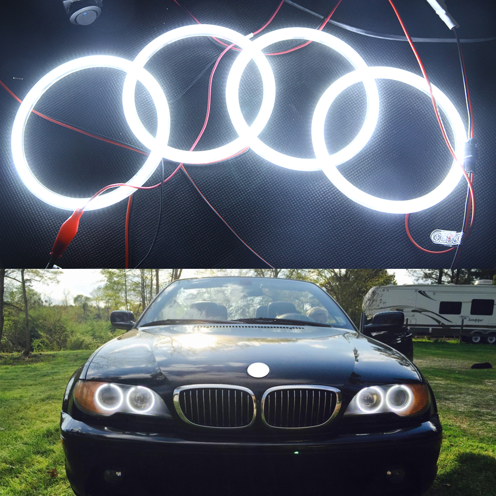 10000K Pure White 3014 SMD LED Angel Eyes Halo Ring Lighting Kit for 2004-2006 BMW E46 3 Series 325ci 330ci LCI Coupe 7000k xenon white smd led angel eyes halo ring lighting kit for bmw e46 3 series non projector free shipping