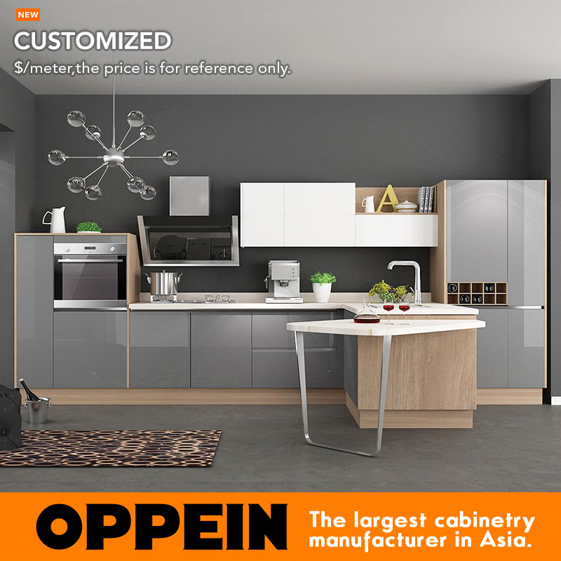 16 Nicely Painted Kitchen Cabinets: OPPEIN Modern Customized Acrylic Kitchen Furniture OP16
