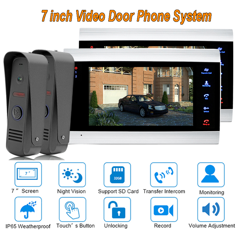 2017 new Video Door Phone Doorbell Intercom System Home Security Camera Monitor with ip65 Rainproof 7 TFT display 1200TVL2 V 2 home security new touch 7inch video door phone doorbell intercom kit 1 camera intercom system free shipping