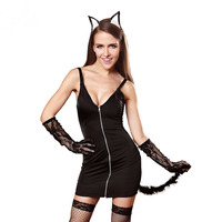 2017 Exotic Fashion Cat Woman Black Sexy Game Play Suits Sling Skirt Underwear Apparel Cosplay Uniform