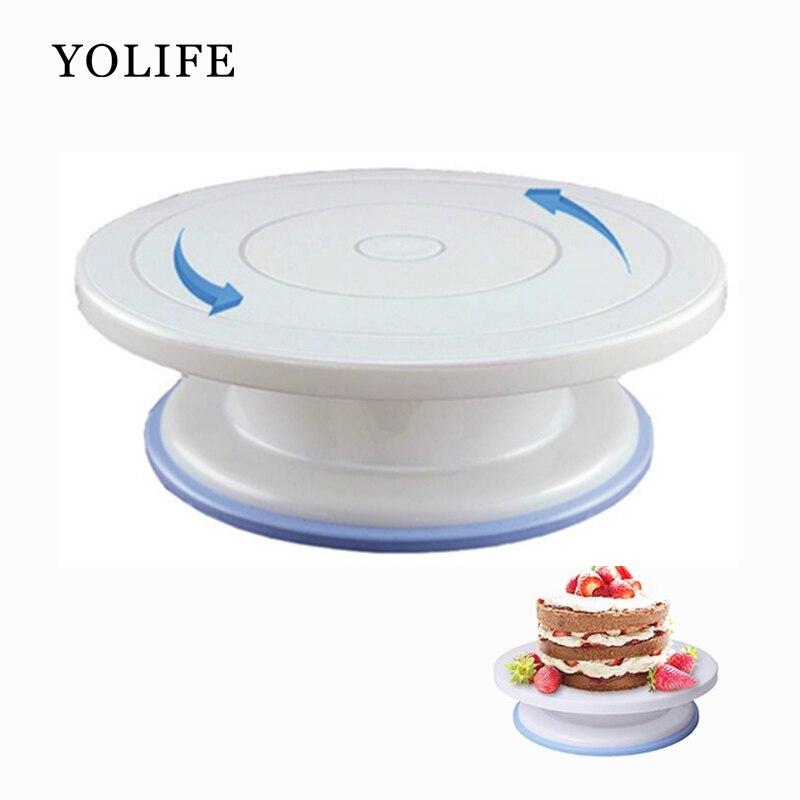 10 zoll Hohe qualität Kuchen Stehen Handwerk Plattenspieler Plattform Cupcake Swivel Platte Revolving-Kuchen Backen Dekorieren Werkzeuge