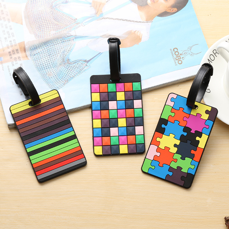 Patchwork Suitcase Tags Rainbow Puzzle Pieces Flower Silicone Luggage Tags Travel Accessories Name Address ID Baggage Holder