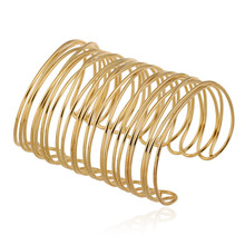Gold Color Wide Cuff Bracelet Bangle Luxury Brand Multilayer Design Metal Open Bangle For Women Men Simple Jewelry