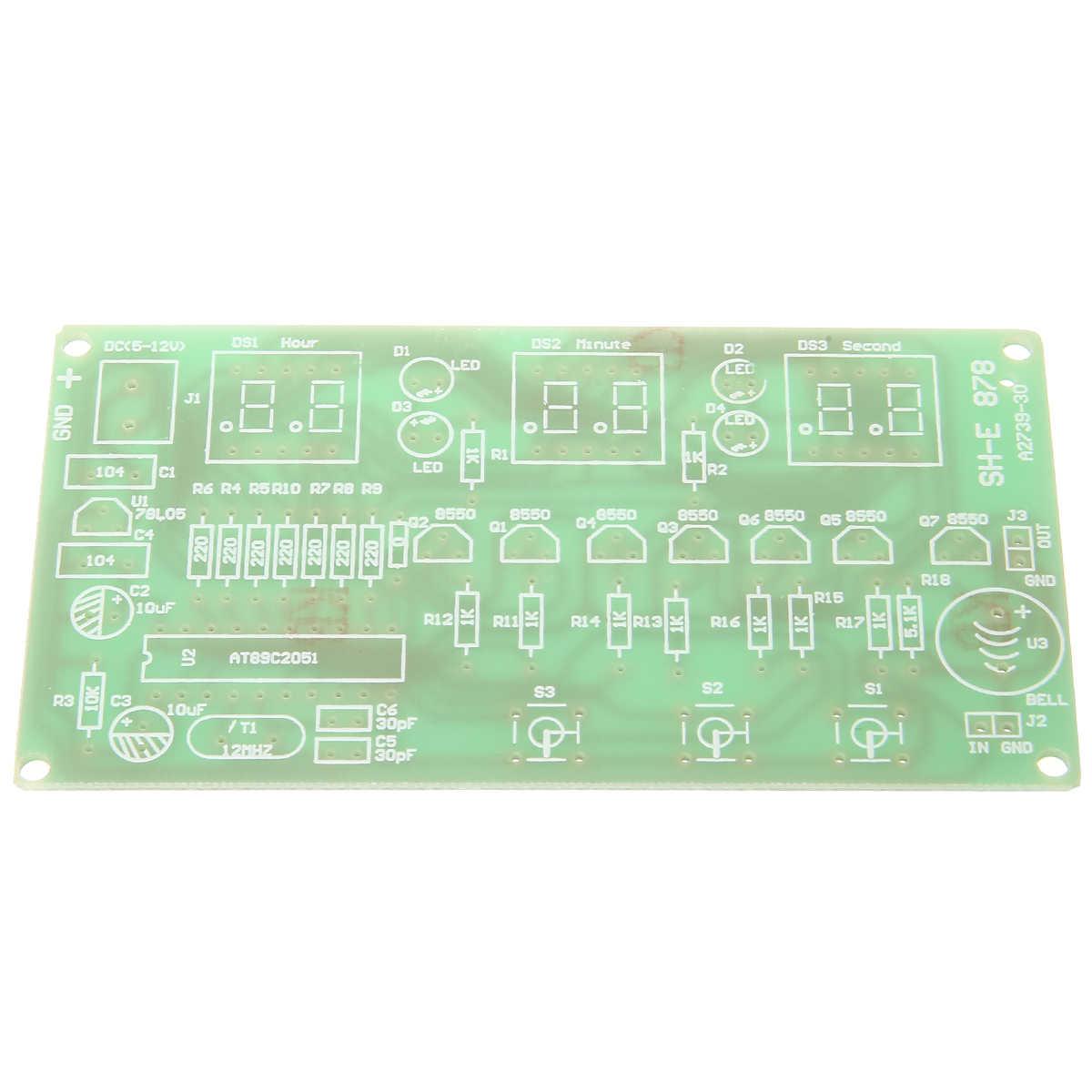 LED طقم الساعة الإلكترونية 5-12 V 6 شاشة رقمية بصمامات ثنائية مضيئة الرقمية إلكترونيات ساعة مكافحة AT89C2051 DIY كيت مكافحة إنذار الموقت 10 سنتيمتر * 5.2 سنتيمتر