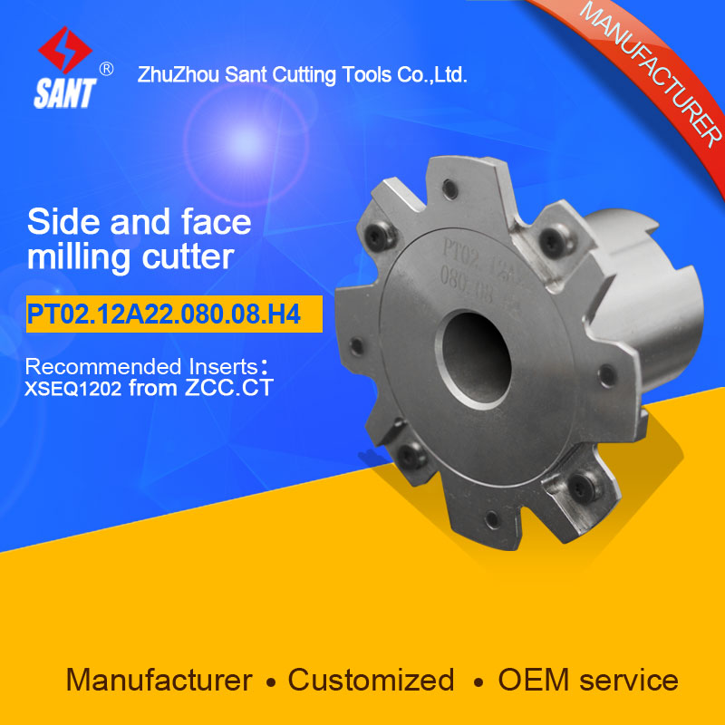 Indexable milling cutter Match insert XSEQ1202 Side and face milling cutter disc PT02.12A22.080.08.H4/SMP01-080X4-A22-SN12-08 cnc milling tool smp01 100 4 a27 sn12 10 with 10pcs xseq1202 carbide milling inserts indexable face and side milling head