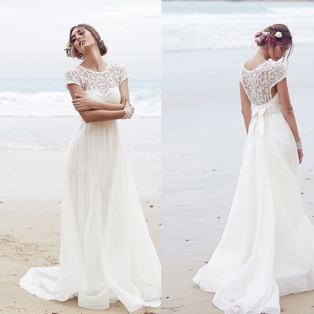Simple Short Sleeve White A Line Chiffon Beach Wedding Dresses